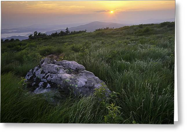 Mountain Photographs Greeting Cards - Roan Mountain Highlands Sunrise - Appalachian Trail Scenic Landscape Greeting Card by Rob Travis