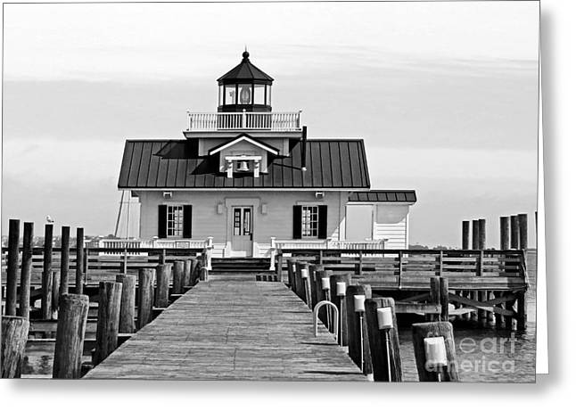 Shallowbag Bay Greeting Cards - Roanoke Marshes lighthouse Black and White Greeting Card by Dawn Gari