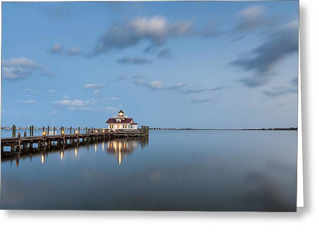 Shallowbag Bay Greeting Cards - Roanoke Marshes OBX Lighthouse Blue Hour Dusk Greeting Card by Mark VanDyke
