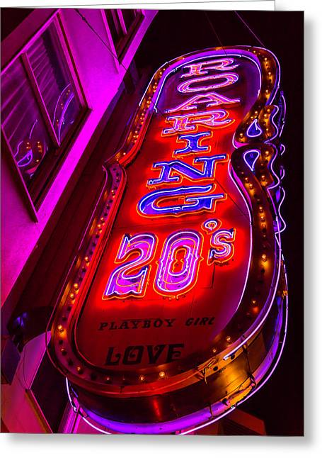 Roaring 20's Neon Greeting Card by Garry Gay