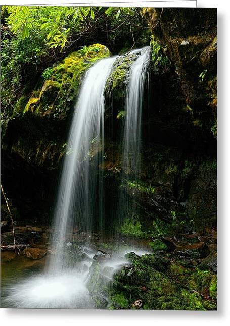 Tennessee Landmark Greeting Cards - Roaring Fork Motor Trail Grotto Falls   Greeting Card by Carol R Montoya