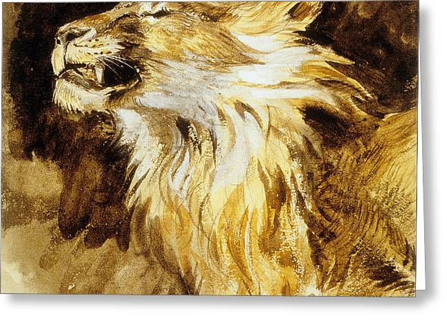 Romanticism Greeting Cards - Roaring Lion Greeting Card by Ferdinand Victor Eugene Delacroix