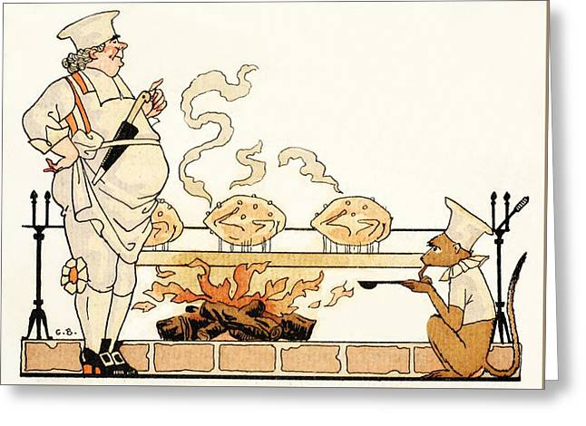 Roasting Greeting Cards - Roasting On A Spit Greeting Card by Georges Barbier
