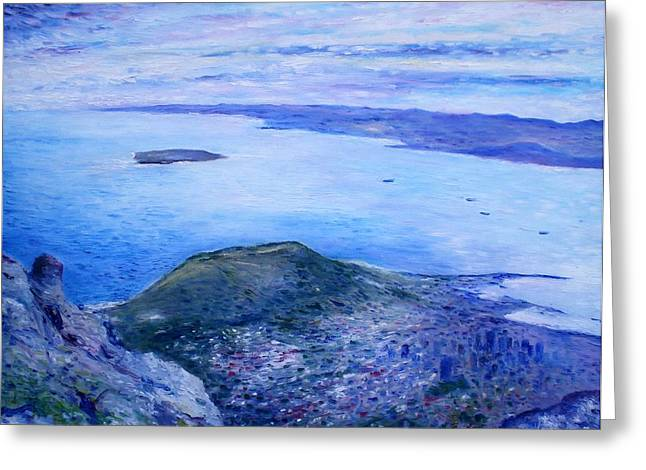 Robben Island From Table Mountain Cape Town South Africa Dawn 2000  Greeting Card by Enver Larney