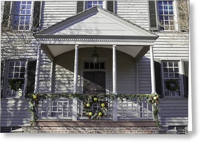 Transoms Greeting Cards - Robert Carter House Porch 01 Greeting Card by Teresa Mucha