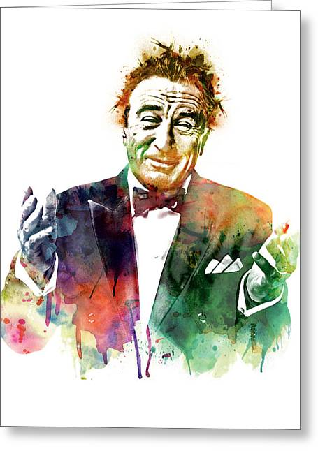 Robert De Niro Greeting Cards - Robert De Niro Watercolor Greeting Card by Marian Voicu