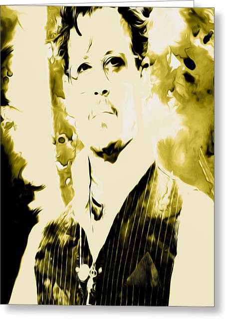 Mickey Rourke Greeting Cards - Robert Downey Greeting Card by Brian Reaves