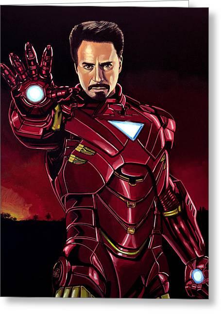 Iron Man Greeting Cards - Robert Downey Jr. as Iron Man  Greeting Card by Paul Meijering