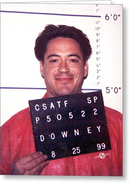 Robert Downey Jr Mug Shot 1999 Color Greeting Card by Tony Rubino