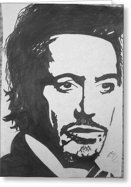 Robert Downey Jr Greeting Card by Zaryab Hassan