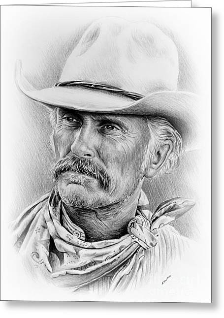 Cowboy Sketches Greeting Cards - Robert Duvall ver two signed Greeting Card by Andrew Read