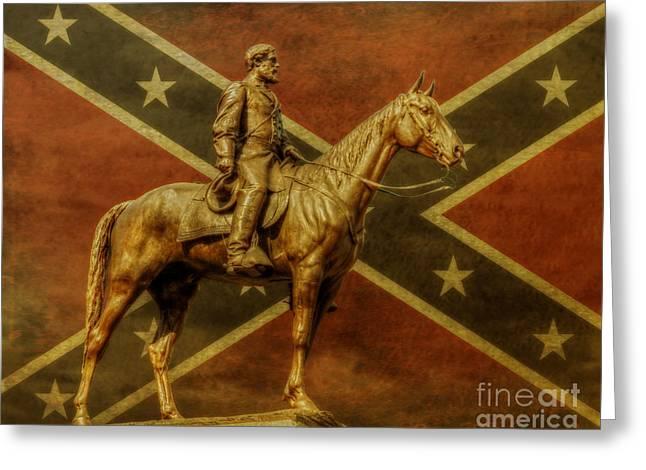 The General Lee Greeting Cards - Robert E Lee Statue Gettysburg Greeting Card by Randy Steele