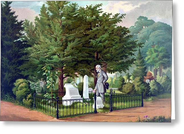 Grave Greeting Cards - Robert E. Lee Visits Stonewall Jacksons Grave Greeting Card by War Is Hell Store