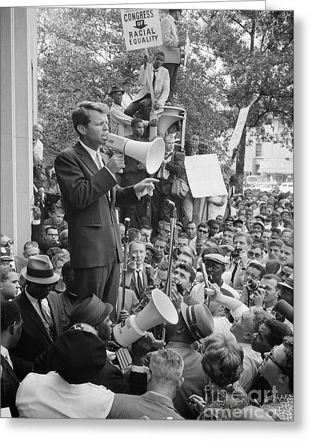 Protesters Greeting Cards - Robert F. Kennedy Greeting Card by Granger