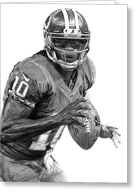 Roberts Drawings Greeting Cards - Robert Griffin III Greeting Card by Bobby Shaw