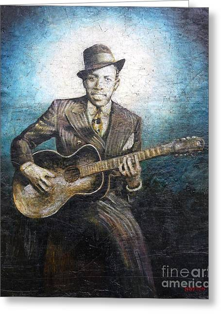 Blue Tapestries - Textiles Greeting Cards - Robert Johnson - King of the Delta Blues Greeting Card by Doug Norton