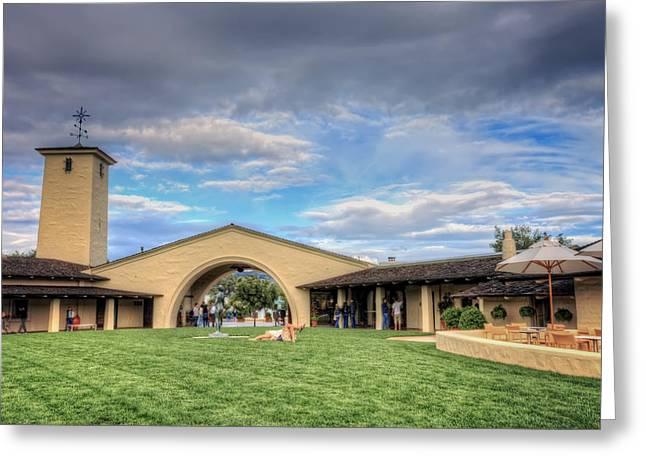 Napa Valley Vineyard Greeting Cards - Robert Mondavi Winery Courtyard  Greeting Card by Jennifer Rondinelli Reilly