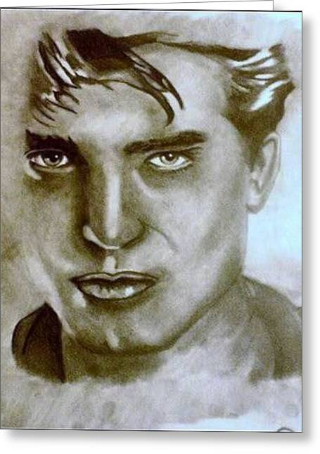 Robert Pattinson Greeting Card by Pauline Murphy