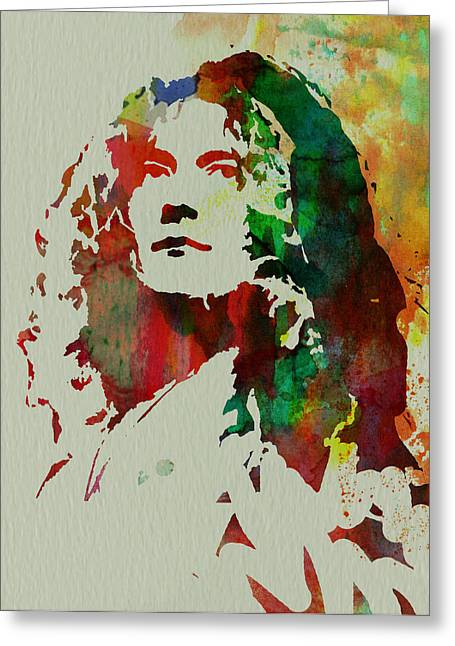 Musicians Paintings Greeting Cards - Robert Plant Greeting Card by Naxart Studio