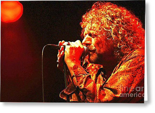 Robert Plant Greeting Card by John Malone
