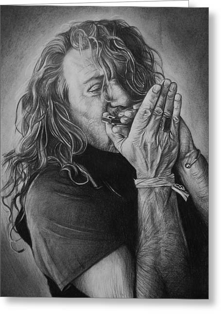Roberts Drawings Greeting Cards - Robert Plant Greeting Card by Steve Hunter