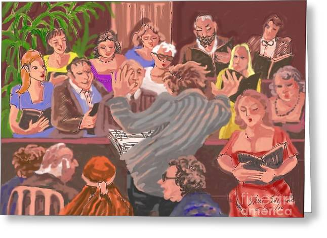 Scores Drawings Greeting Cards - Robert Sharon Chorale Greeting Card by Shirl Solomon