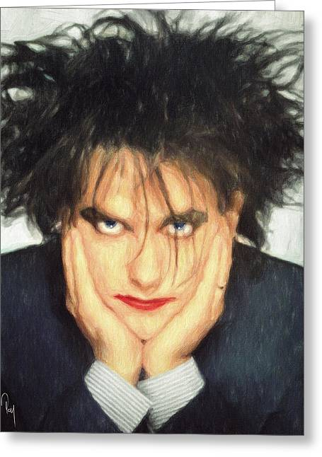 80s Pop Music Greeting Cards - Robert Smith Greeting Card by Taylan Soyturk