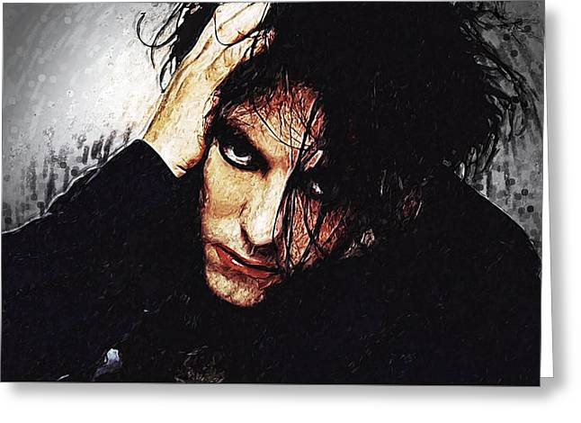 80s Pop Music Greeting Cards - Robert Smith - The Cure  Greeting Card by Taylan Soyturk