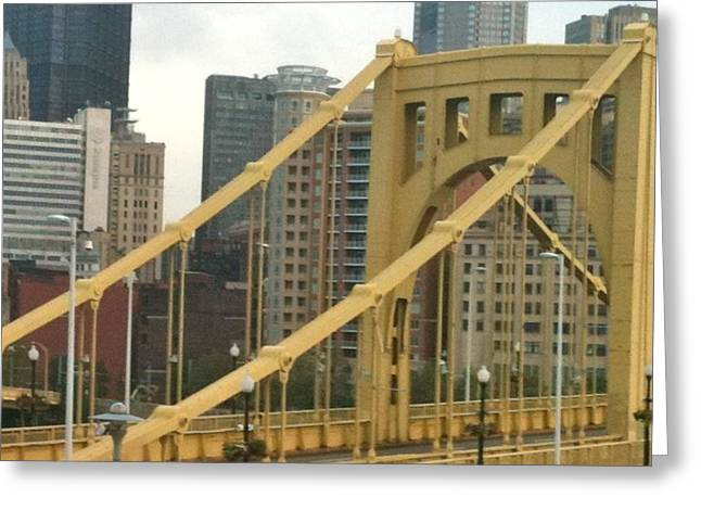 Roberto Mixed Media Greeting Cards - Roberto Clemente Bridge Greeting Card by Deb Sagan