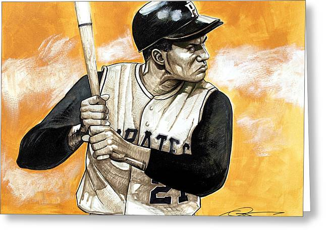Puerto Rican Baseball Drawings Greeting Cards - Roberto Clemente Greeting Card by Dave Olsen