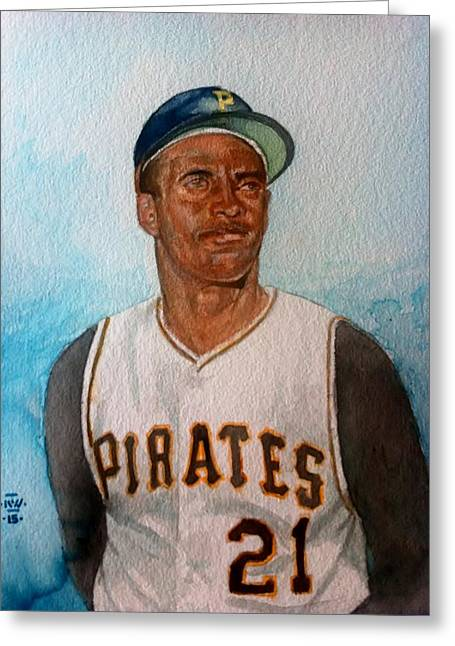 Roberto Clemente Paintings Greeting Cards - Roberto Clemente Greeting Card by Nigel Wynter