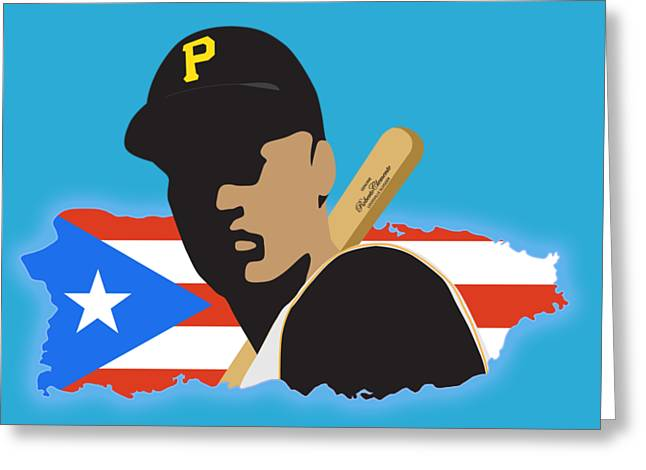 Roberto Greeting Cards - Roberto Clemente T-Shirt Graphics Greeting Card by Ron Regalado