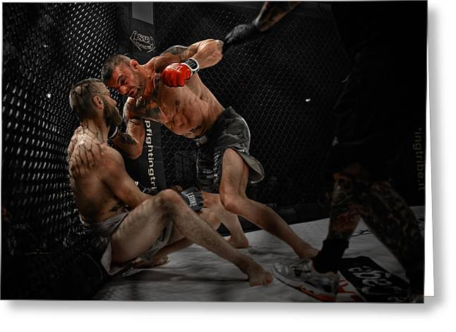 Boxe Greeting Cards - Roberto Rigamonti VS Ernesto Navas - Rampage Greeting Card by Riccardo Mantero
