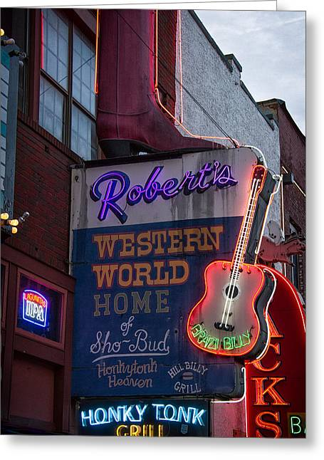 Live Music Greeting Cards - Roberts Honky Tonk Grill Greeting Card by Mike Burgquist