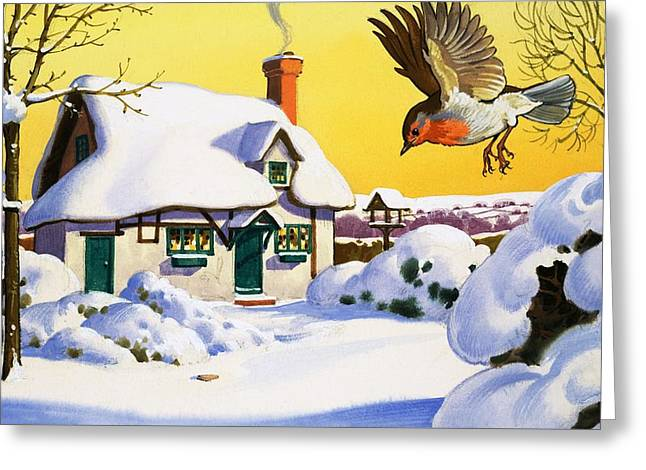 Thatch Drawings Greeting Cards - Robin flying in the snow Greeting Card by English School