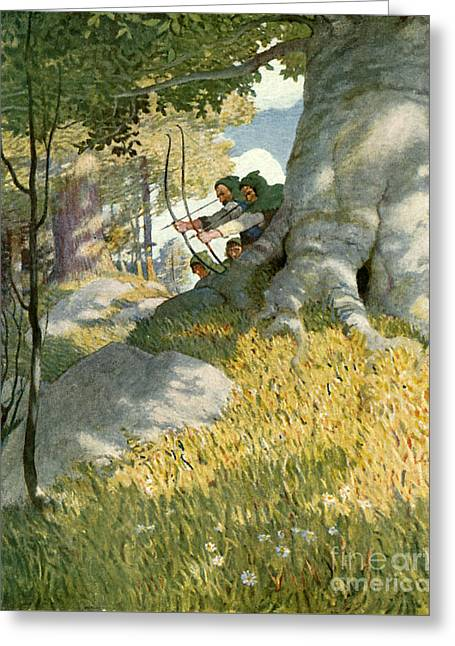 Robin Hood And His Companions Rescue Will Stutely Greeting Card by Newell Convers Wyeth