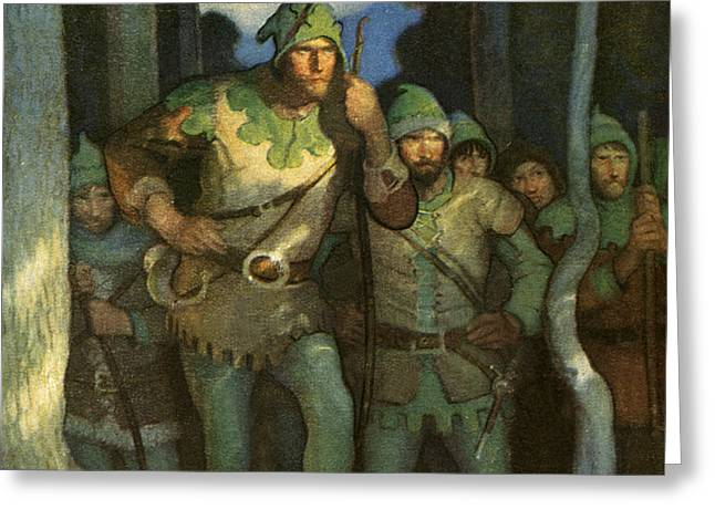 Robin Greeting Cards - Robin Hood and his Merry Men Greeting Card by Newell Convers Wyeth