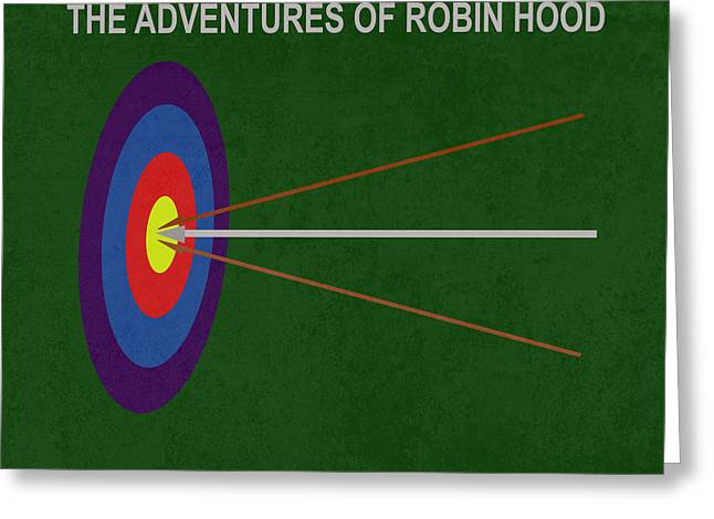 1938 Movies Greeting Cards - Robin Hood Movie Poster Greeting Card by Matt Malloy