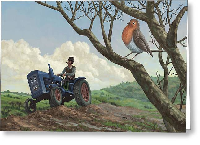 Bird On Tree Greeting Cards - Robin In Field Looking At Farmer Greeting Card by Martin Davey