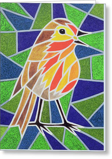Robin Greeting Cards - Robin on Stained Glass Greeting Card by Pat Scott