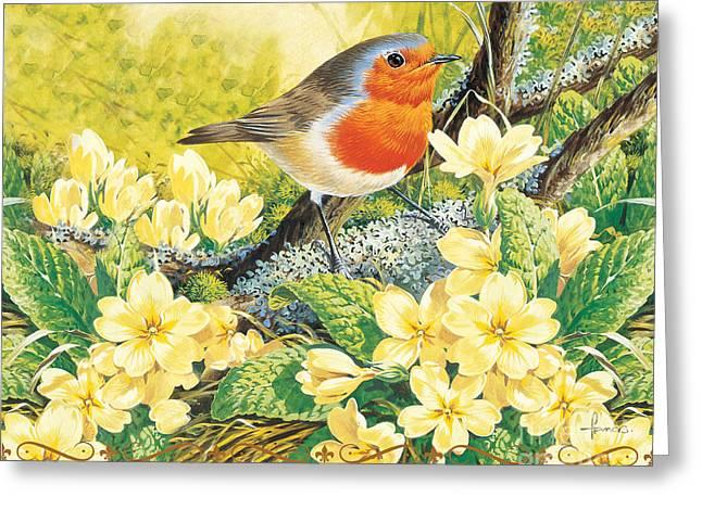 Robin Spring Greeting Card by John Francis
