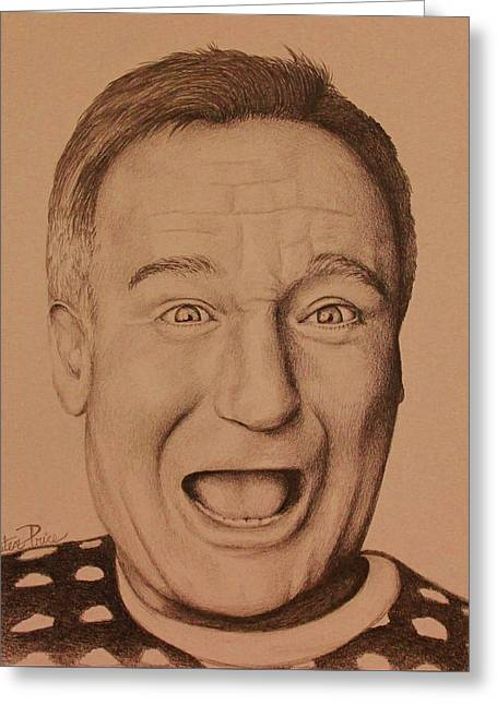 Eyebrow Greeting Cards - Robin Williams Greeting Card by Kiersten Price