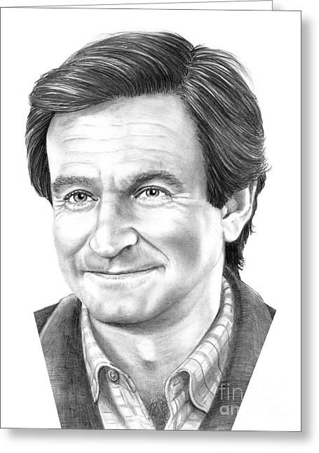 (murphy Elliott) Drawings Greeting Cards - Robin Williams Greeting Card by Murphy Elliott