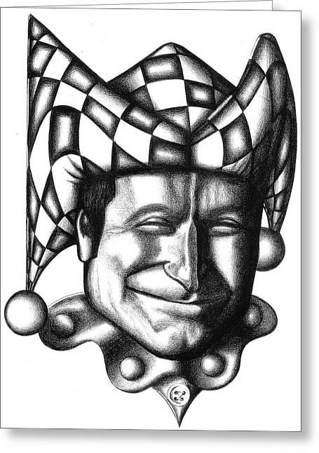Robin Williams Greeting Card by Robert Shoemaker IV