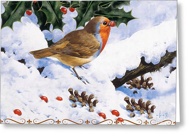 Robin Winter Greeting Card by John Francis