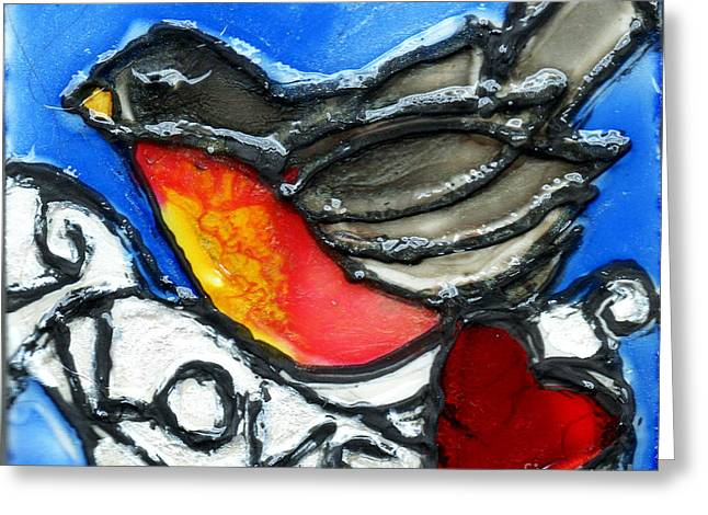 Robin With Heart Greeting Card by Genevieve Esson
