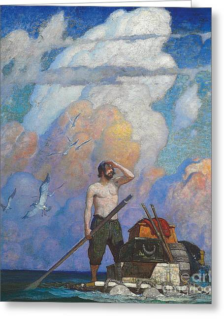 Robinson Crusoe Greeting Card by Newell Convers Wyeth