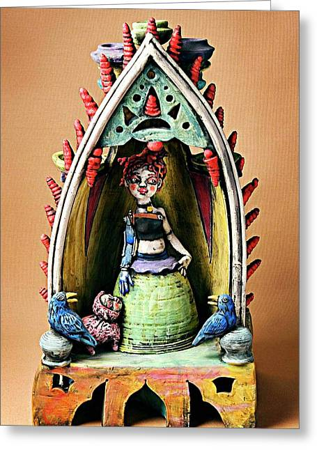 Sculpture. Ceramics Greeting Cards - Robo Girl Greeting Card by Kathleen Raven