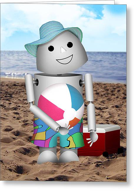 Ocean Shore Mixed Media Greeting Cards - Robo-x9 at the Beach Greeting Card by Gravityx9 Designs