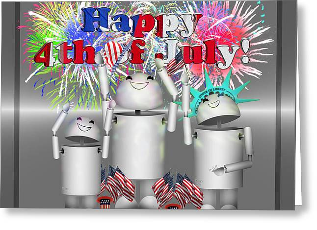 Fireworks Mixed Media Greeting Cards - Robo-x9 Celebrates Freedom Greeting Card by Gravityx9  Designs